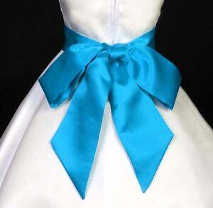 Details about turquoise blue wedding flower girl dress satn sash bow