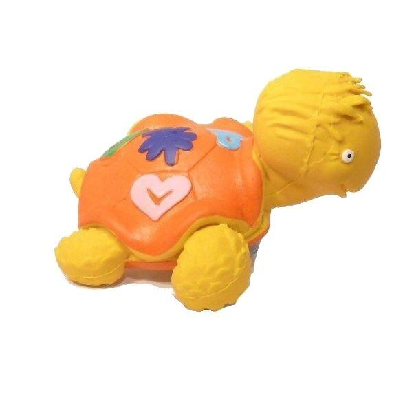 LANCO 100% Natural Rubber Yellow Turtle Teether Sensory Bath Time Toy RRP $22.95