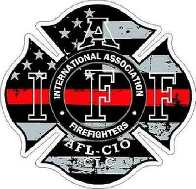 2 Inch Reflective IAFF Thin Red Line Maltese Distressed Flag Helmet Sticker 6159