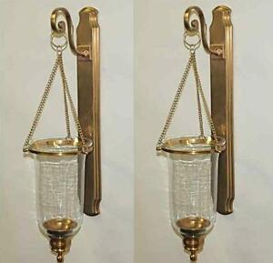 Set 2 Antique Brass Clear Glass Hanging Hurricane Candle ...