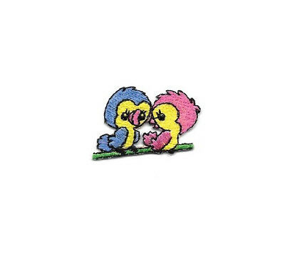 Bird - Love Birds - Blue/Pink - Embroidered Iron On Applique Patch ()