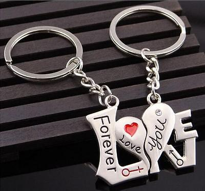 New 1 Pair Good Couple Keychain Keyring Keyfob Valentine's Day Lover Gift heart