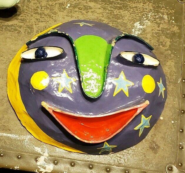 Gina Truex paper mache art mask papier mache star moon carnival signed