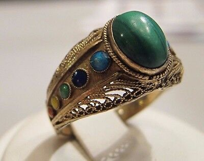 Vintage Chinese Export Unusual Silver Vermeil Enamel & Malachite Filigree Ring
