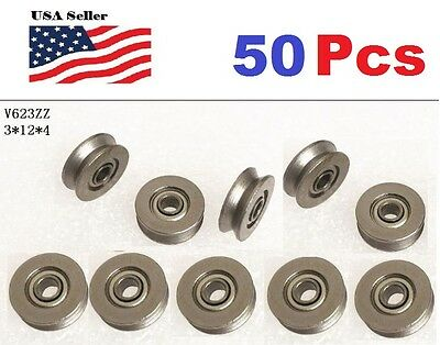 50 X V623zz 623vv V Groove Guide Pulley Rail Ball Bearings Metal 3mm12mm4mm
