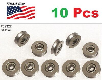 10 X V623zz 623vv Groove Guide Pulley Rail Ball Bearings Metal 0.3cm12mm4mm