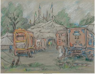 Reynolds Beal  American  1867 1951  Circus Wagons Pastel On Paper 9    Lot 66653