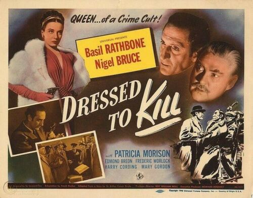 DRESS TO KILL MAN 1946 TITLE CARD 11x14 BASIL RATHBONE, NIGEL BRUCE