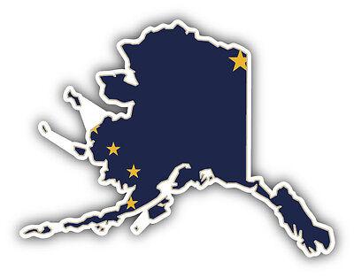 State Flag Bumper Sticker - Alaska USA State Map Flag Car Bumper Sticker Decal 5'' x 4''