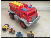 Fire engine and toy car