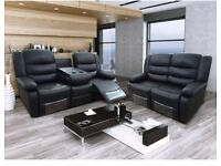 Ramsey Luxury Bonded Leather Recliner Suite