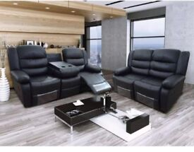 Reilly Luxury Bonded Leather Recliner Suite