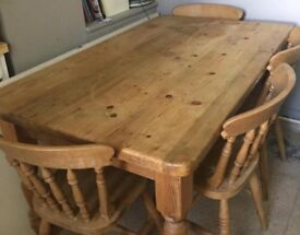 Pine farmhouse table and 4 chairs