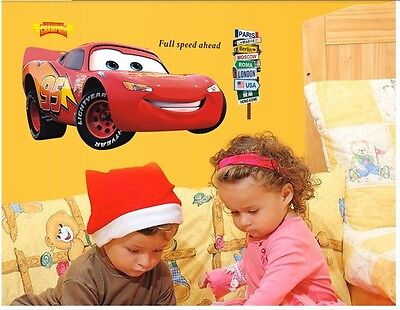 Movie Cars Lightning McQueen Kids Mural PVC Decals Removable Wall Sticker Decor