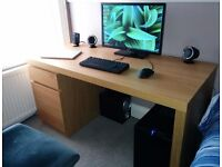 IKEA OAK EFFECT MALM LARGE DESK WITH DRAWER AND CUPBOARD