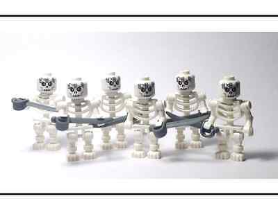 ☆NEW☆ Lego Castle / Pirates Lot of 6 Skeleton Crew Minifigs with Swords Weapon!