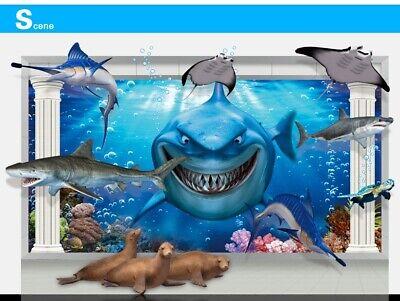 3D Shark Fisch Hai DIY   Aufkleber Kinder Zimmer Deko Wandtattoo Sticker--AY9262