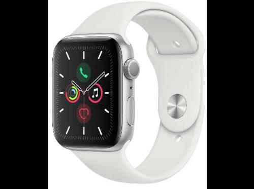 Apple Watch Series 5, Chip W3, 44 mm, GPS, Caja aluminio plata, Blanca