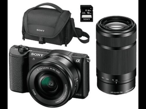 Pack Cámara EVIL - Sony ILCE 5100L, 24.3MP, CMOS, Wi-Fi + 16-50mm + 55-210mm