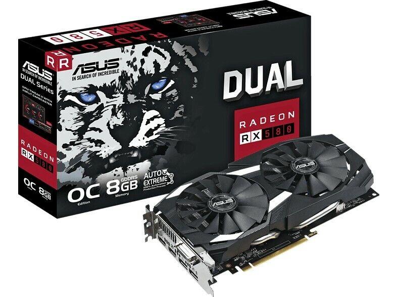 Asus Dual-Series Radeon RX 580 (AMD RX580, PCIe 3.0, 8GB RAM) Grafikkarte