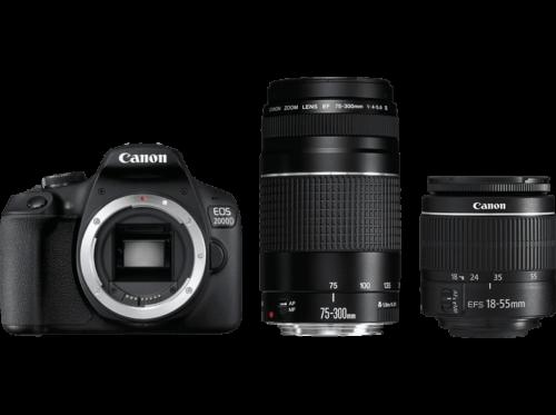 CANON EOS 2000D Kit Spiegelreflexkamera, 18-55mm, 75-300 mm Objektiv OVP