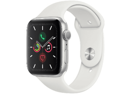 Apple Watch Series 5, Chip W3, 44 mm, GPS, Caja aluminio plata,Correa blanca