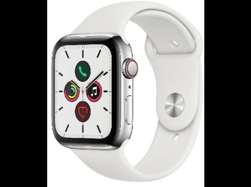 AppleWatchSeries5,44mm,GPS+Cellular,acero inox plata,Correa deportiva blanca