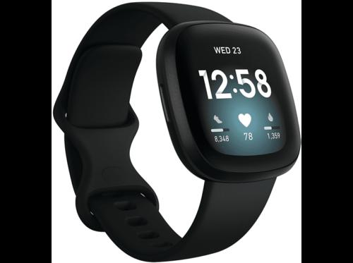 Smartwatch - Fitbit Versa 3, Negro, GPS, Frecuencia cardiaca, + 6 días batería