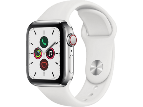 Apple Watch Series 5, Chip W3, 40 mm, GPS + Cellular, Caja acero inoxidable plat