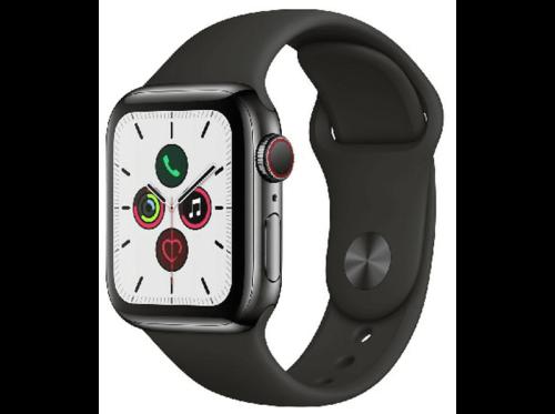 Apple Watch Series 5,40 mm, GPS + Cellular, Caja acero inox negro espacial