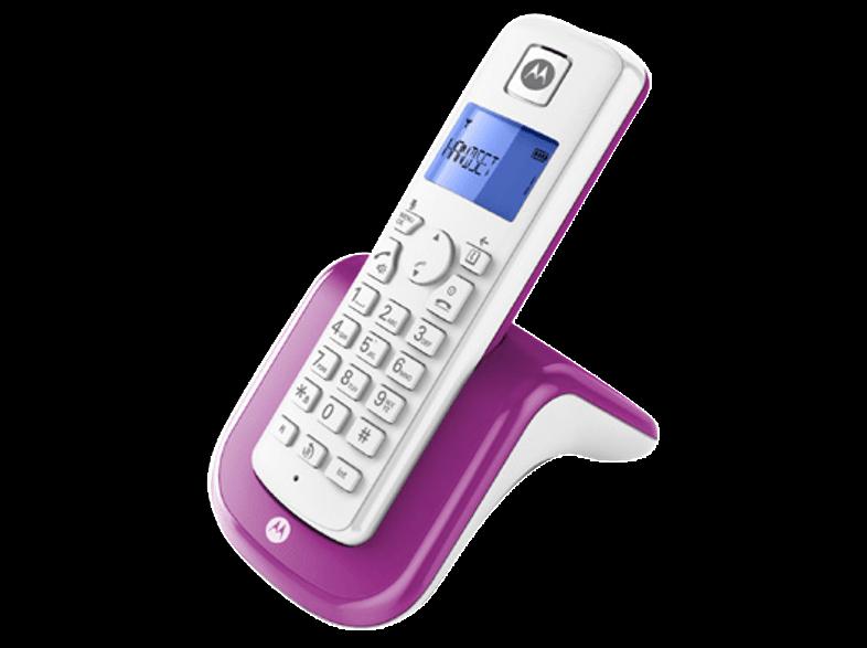 Schnurloses Telefon analog Motorola T201 Freisprechen Lila + B-Ware +