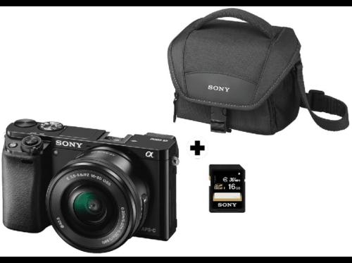 Pack Cámara EVILSony A6000, 24.3 MP, Full HD, WiFi, Ne + E PZ 16-50 mm f/3.5-56