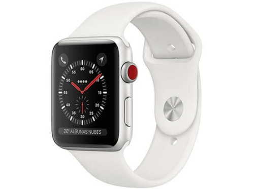 Apple Watch Series 3 GPS + Cellular, 42 mm, Caja plata, correa deportiva Blanco