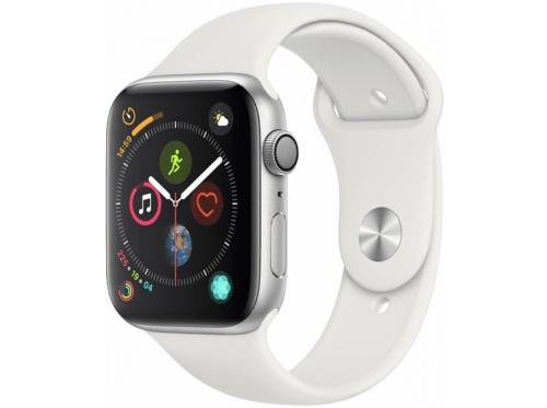 Apple Watch Series 4 GPS, 44mm Caja de Aluminio plata con Correa  blanca