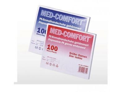 MED COMFORT Einmalhandschuhe 100St. PE/ Kunststoff gehämmert Handschuhe Damen