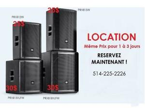LOCATION / RENTAL -  SPEAKER JBL PRX - SRX - EON SERIES* SUB & TOP SPEAKERS * MEILLEUR PRIX GARANTI***