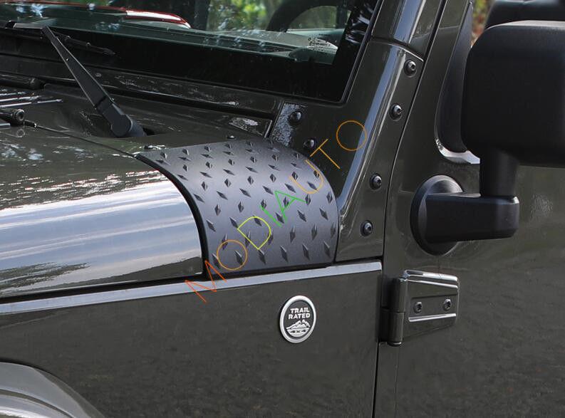 Black 2 x Cowl Body Armor Cover Diamond Plate Trim For 2007-17 Jeep Wrangler JK