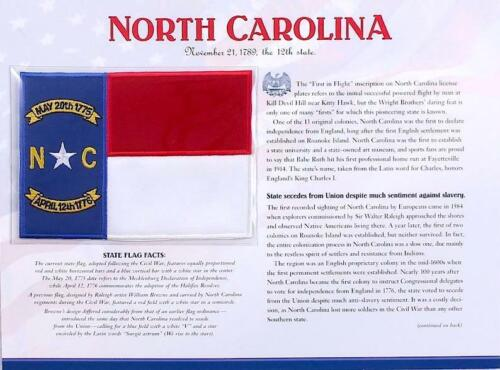 NORTH CAROLINA Willabee Ward STATE FLAG PATCH INFO CARD United States Collection