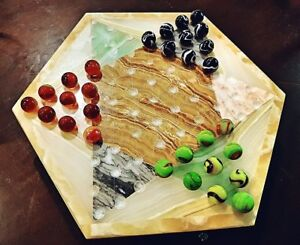 DUNDAS: Vintage 73 hole Stone marble Chinese checkers board game