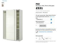 Ikea pax wardrobe with sliding doors - White