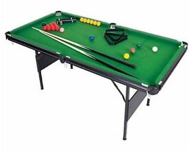 6x3 snooker table, missing 1 wing nut for a leg, set of balls, no cues.