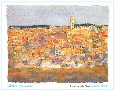 Kunstdruck Italien Westphal Matera Poster Bild 100 x 70 cm Aquarell
