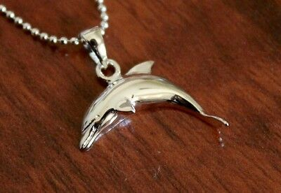 Hawaiian Genuine 925 Sterling Silver Hawaii Dolphin Pendant Necklace #SP29601 (Dolphin Necklaces)