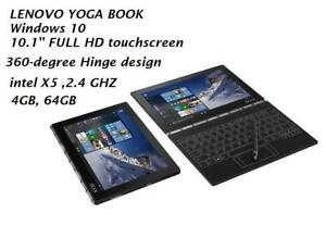 LENOVO YOGA BOOK 2 in 1 10.1'' FHD 360x, Intel X5 2.4GHZ, 4gb 64gb, Windows 10,Halo Keyboard  appears only when needed