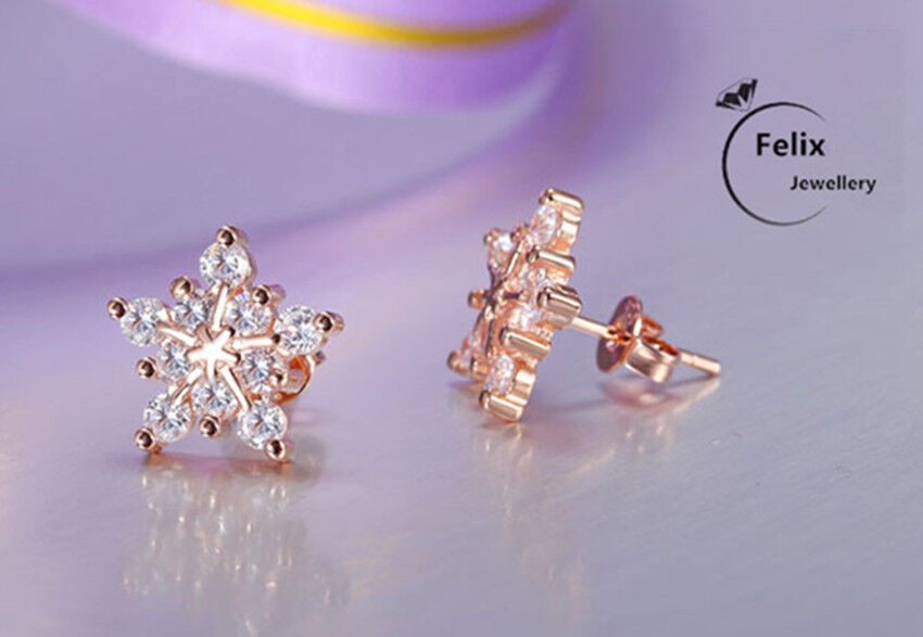 Jewellery - Rose Gold Snowflake Ear Stud Earrings 925 Sterling Silver Womens Jewellery Gifts