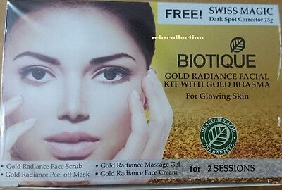 4 PACK BIOTIQUE GOLD RADIANT MINI FACIAL KIT WITH GOLD BHASMA- LOW SHIPPING - Low Cost Makeup
