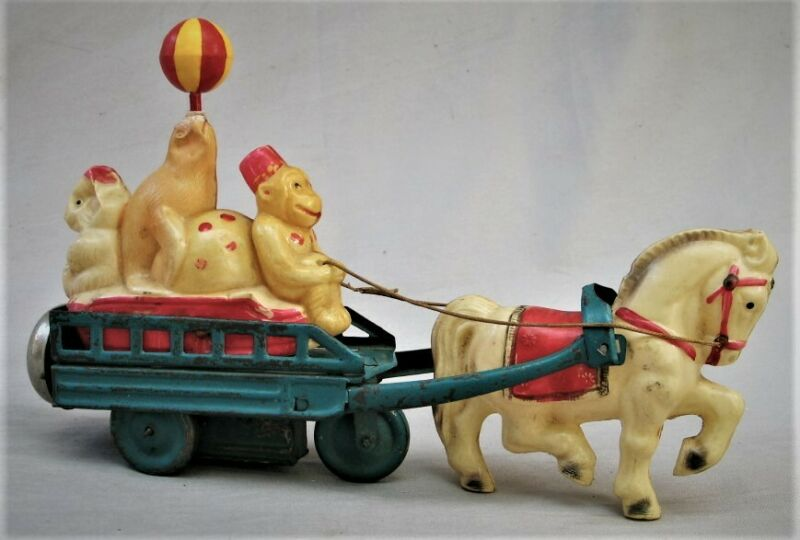 Vintage Wind Up Celluloid Toy - Circus Parade with Animals Made in Japan