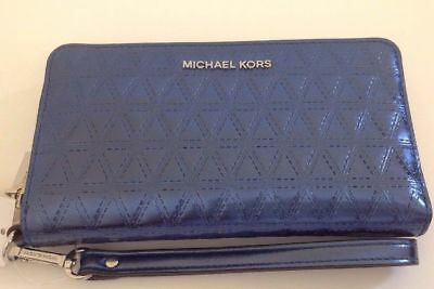Michael Kors NWT $128 Wristlet Wallet Zip Around Phone Case Steel Blue Leather