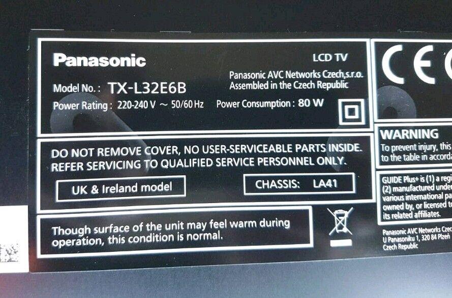 Panasonic viera tx-l32e6b manual