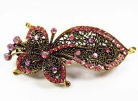 Retro pink leaves Crystal Rhinestone Bronze flowers hair clip